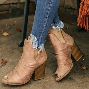 Shoes - SHANNON peep toe suede booties - TAUPE